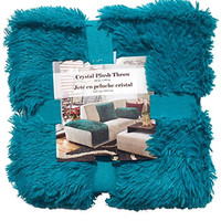 Chic and Stylish Throw Blanket For Sofa, Long Hair Plush Throw with Short Faux Fur Reverse, Very Soft, Fluffy and Comfy 50 x 60 (Turquoise/Aqua)