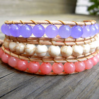 Beaded Leather Wrap Bracelet 3 Wrap with Purple and Coral Gemstone Beads and White Turquoise on Genuine Natural Leather Summer