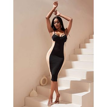 Two Tone Cut Out Bodycon Dress