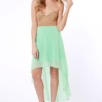 Modish of the Day Brown and Mint Green Dress