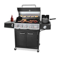 Propane Gas Grill 5 Burner Stainless Steel Outdoor Backyard BBQ Cooking