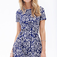 FOREVER 21 Floral Pleated A-Line Dress Royal/Cream