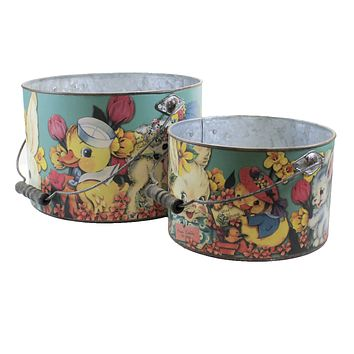 Easter Happy Easter Buckets Set / 2 Decorate Basket Bunny Chick - 105051