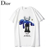 Dior Fashion New Doll Bear Print Women Men Top T-Shirt White