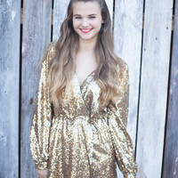 Disco Sequined Wrap Dress - Gold