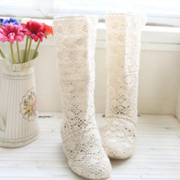 Hot style hot selling cotton thread crocheted mesh tube hollow mesh boots