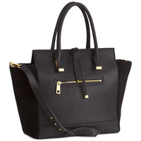 H&M - Handbag with Suede Details - Black - Ladies