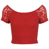 Red Lace Bardot Crop Top - Tops  - Apparel