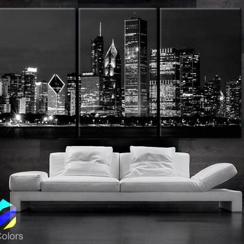 """LARGE 30""""x 60"""" 3 Panels Art Canvas Print Beautiful Chicago skyline at night light buildings Wall Home"""