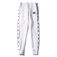 Champion Fashion New Embroidery Logo String Mark Print Women Men Leisure Sports Pants White