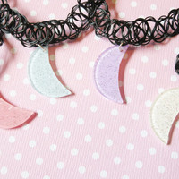 Pastel Moon Black Tattoo Choker - Pink, Blue, White, or Lavender