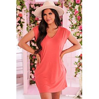 """""""Too Little, Too Late"""" V-Neck T-Shirt Dress (Coral)"""