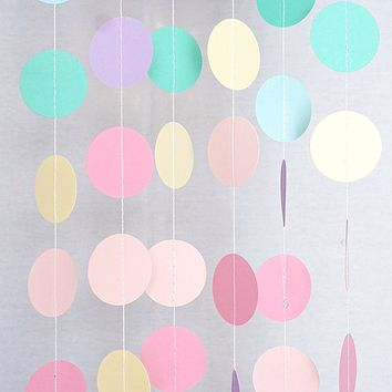 Unicorn Pastel Circle Garland Party Decoration Paper Dots Banner