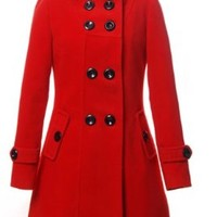 Charex® Women Wool Blends Coat Hooded Double Breasted Trench Coat Slim Long Jacket
