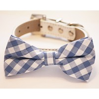Plaid Blue Dog Bow tie with Collar, Cute Dog Bow tie, Something blue , Wedding dog collar