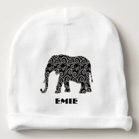 Black and White Abstract Swirl Elephant Baby Beanie