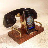 iPhone Dock - Phone - iPod Dock - Phone - Charger and Sync Station - Bluetooth Headset - Oak  -  Wireless Headset
