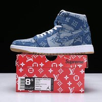 Air Jordan 1 Retro Louis Vuitton x Supreme Sneaker Shoe