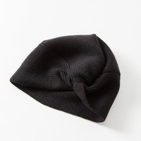Knot-Front Knit Beanie   Urban Outfitters