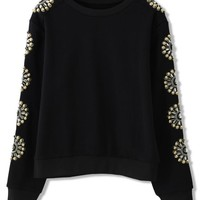 Black Sweater with Golden Bead & Crystal Embellished Sleeves