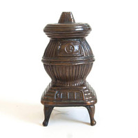 Vintage Pot Belly Stove Bank, Copper Metal Wood Burning Stove Metal Coin Bank Miniature