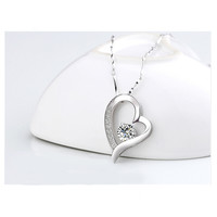 YAN & LEI Hot Sale14K White Gold Overlay Sterling Silver Forever Lover Heart Pendant Necklace