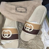 GG double G color-block striped slippers shoes