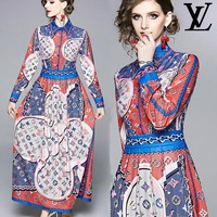 LV Louis Vuitton Newest Hot Sale Women Slim Retro Lapel Print Long Sleeve Dress