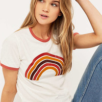 Retro Rainbow Ringer T-shirt - Urban Outfitters