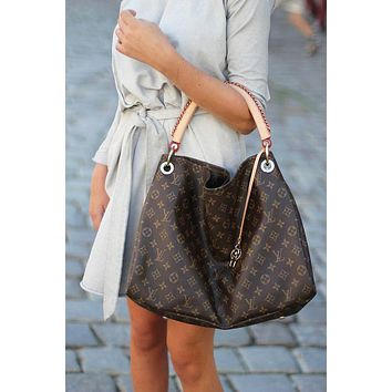 LV Fashion Women's Printed Shopping Bags Hot Selling Single Shoulder Bags LV pattern coffee