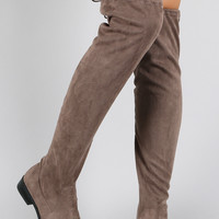 Bamboo Suede Drawstring Over-The-Knee Flat Boots