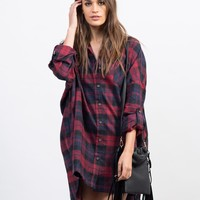 Plaid Flannel Shirt Dress