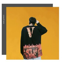 HCXX 19Sep 608 NEIGHBORHOOD X VLONE Flame Burning Taro WISP Palm Round Collar Thin Sweatshirt