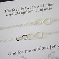 Mother and Daughter Infinity Bracelet Set, Infinity Gift, Infinity Jewelry, Delicate, Double Silver Infinity, Sterling Silver