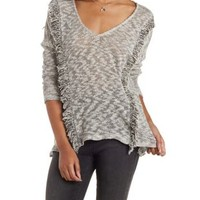 Heather Gray Marled Sweater Knit Fringe Top by Charlotte Russe