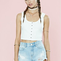 Button-Front Ribbed Crop Top