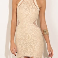 Halter Lace Bodycon Dress