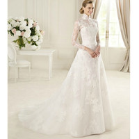 White Lace Long Sleeve Vintage Style Fall Winter Wedding Dress Gown SKU-118250