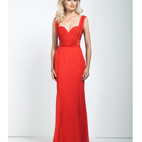 Red Sheer Illusion Low Back Gown