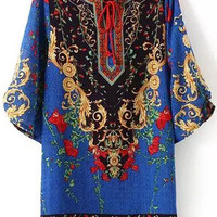 Blue Baroque Printed Flare Sleeve Tunic Dress
