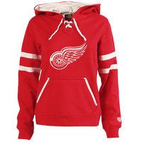 Old Time Hockey Detroit Red Wings Women's Red Grant Lace-Up Slim Fit Hoodie