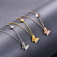 Stainless Steel Butterfly Pendant Necklace