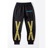 Off White New fashion letter print couple pants Black