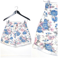 ROSE print jean shorts / vintage early 90s GRUNGE super high waisted pastel floral DENIM shorts