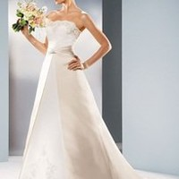 Satin A-linegown with beaded lace - David's Bridal