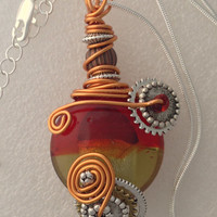 Red, olive green, silver and copper wire wrapped pendant necklace 18 - 20""