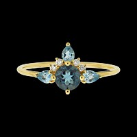 14kt Blue Topaz and Diamond Unicorn Ring