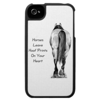 Horses Leave Hoofprints On Your Heart: Pencil Art iPhone 4 Cases from Zazzle.com