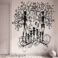 Family of skeletons wall decal, tree wall decal, living room wall decal, tree of life decal, Gothic wall decal, bedroom wall decal, skulls