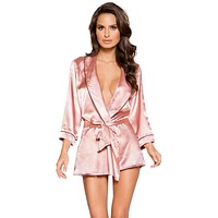 Sexy Sweet Dreams Satin Collared Robe